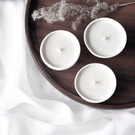 Delicate – zestaw świec w białej porcelanie