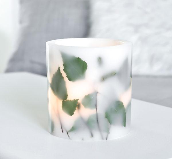 oryginalny, ręcznie tworzony lampion z parafiny, z suszonymi liśćmi brzozy - osłonka na tealighty