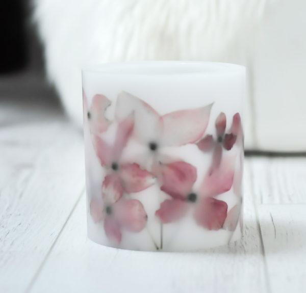unikalny, ręcznie tworzony lampion, osłonka na tealighty z suszonymi, różowymi kwiatami