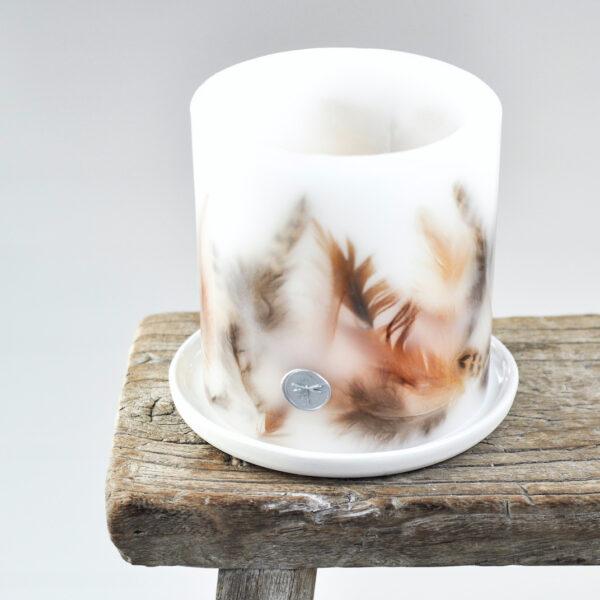 lampion parafinowy - oryginalna osłonka na tealighty z zatopionymi w ściankach piórami