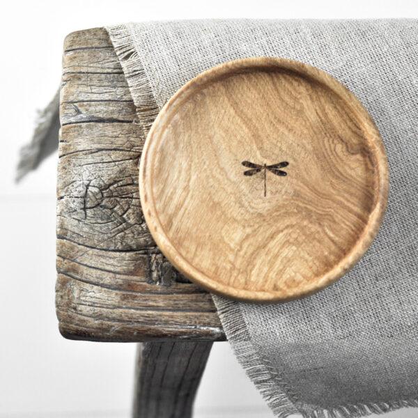 ręcznie toczona, drewniana, dębowa podstawka do świecy