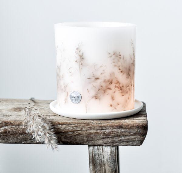 oryginalny lampion parafinowy, z suszonymi trzcinami - osłonka na tealighty